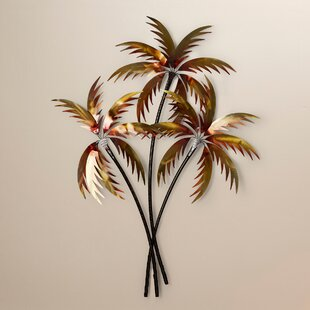 3 Copper Palm Trees Wall Décor