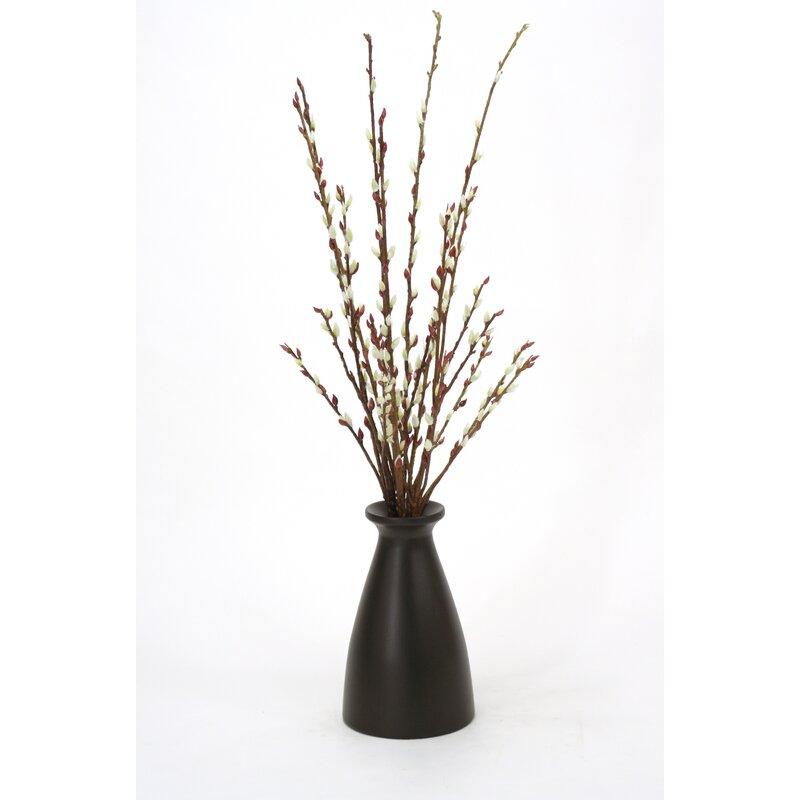 Distinctive Designs Pussy Willow Flowering Branch In Decorative Vase