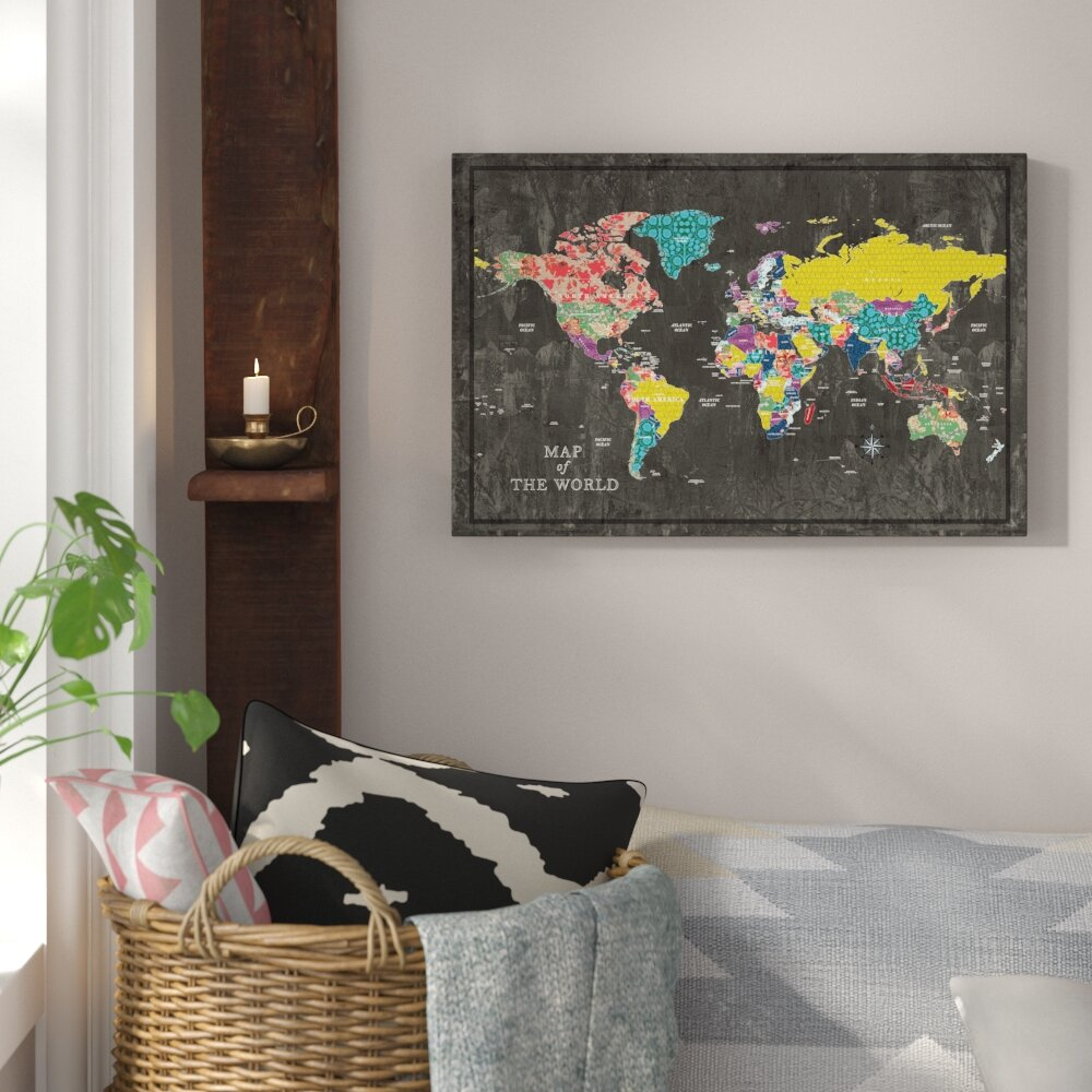 Colorful World Map Art.Bungalow Rose Colorful World Map Graphic Art Print On Canvas