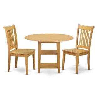 Tyshawn 3 Piece Drop Leaf Breakfast Nook Solid Wood Dining Set