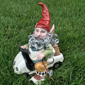 Nowaday Gnomes Golfer In His Golf Cart Statue