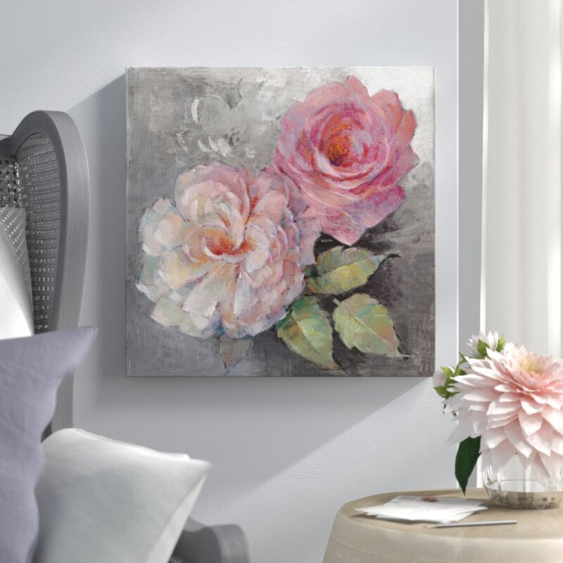 Lark Manor Roses On Gray I Painting Print On Wrapped Canvas