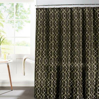 Bath Studio Faux Linen Textured Shower Curtain Set Color: Espresso