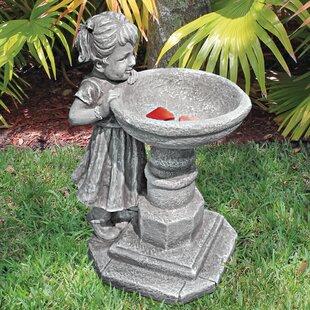 Georginau0027s Garden Gaze Child At Birdbath Statue