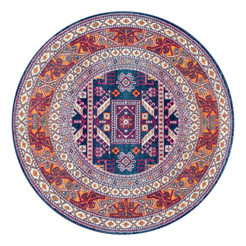 World Menagerie Delilah Navy Brown Area Rug Amp Reviews