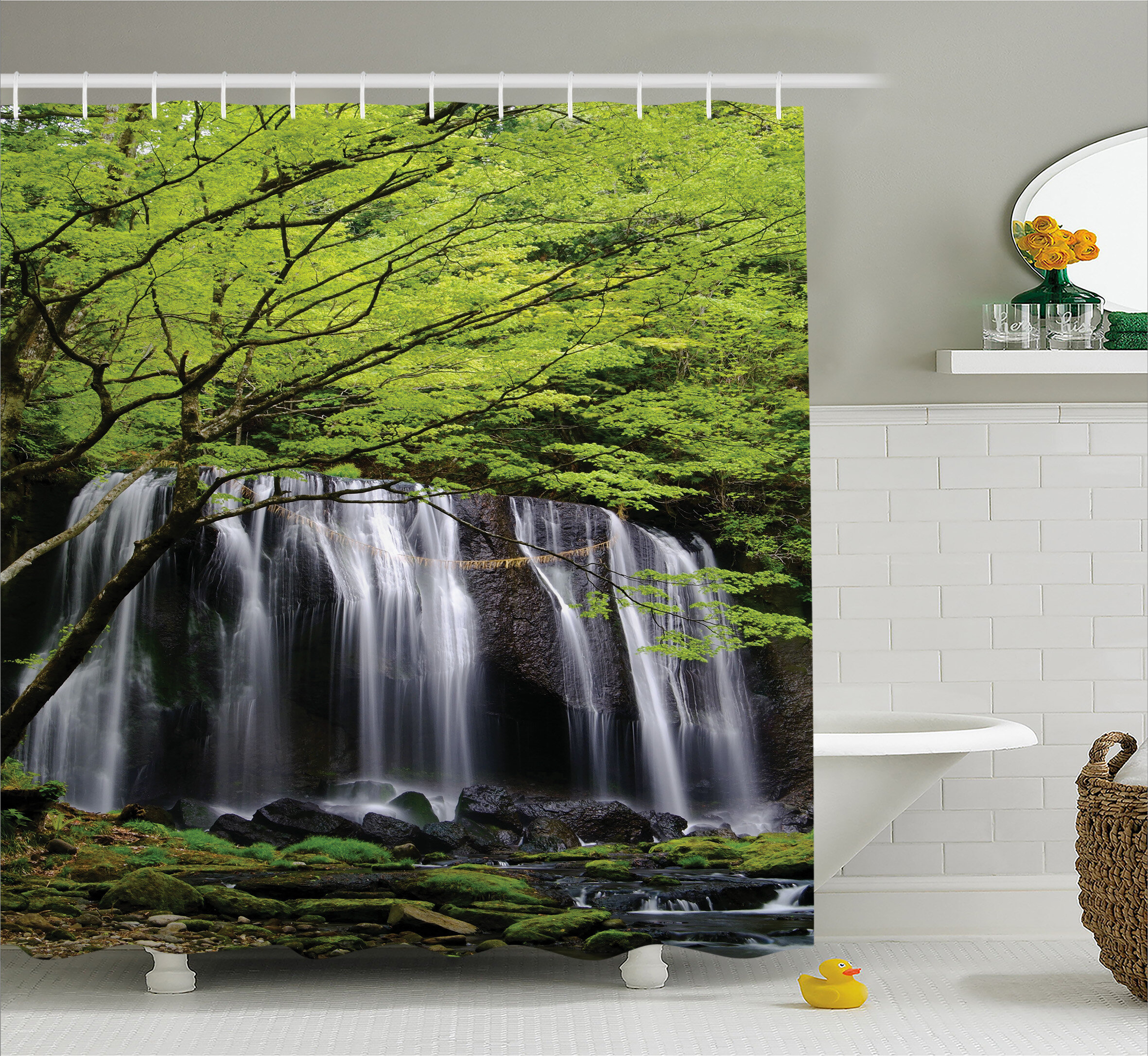 East Urban Home Scenery Rock Tree In Waterfall Shower Curtain