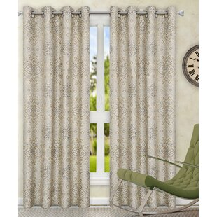 top pair dp with exclusive amazon com jacquard panel linen window medallions home akola medallion curtain grommet natural