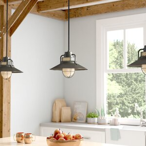 Fitzhugh 1-Light Glass Kitchen Island Pendant