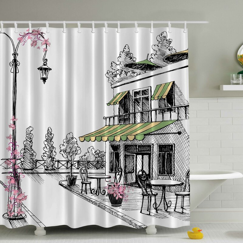 Ambesonne European Cafe Print Shower Curtain Reviews