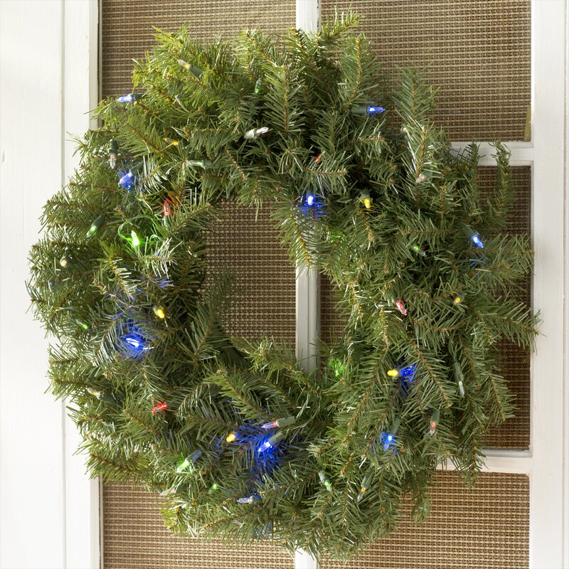 Pre Lit Wreath With 50 Battery Operated Led Changing Colored Lights