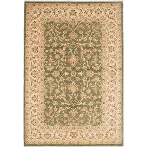 One-of-a-Kind Chobi Finest Hand-Knotted Green Area Rug