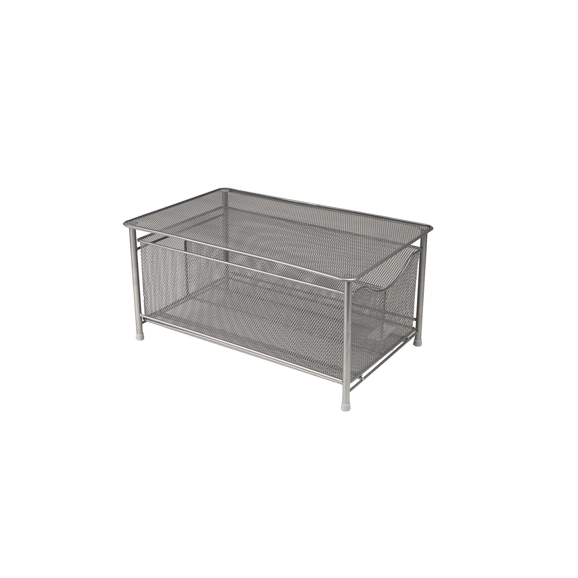 Mind Reader Metal/Wire Storage Basket with Sliding Drawer and Steel ...