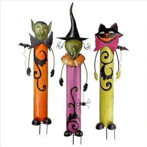 3 piece halloween metal garden stakes - Halloween Garden Stakes
