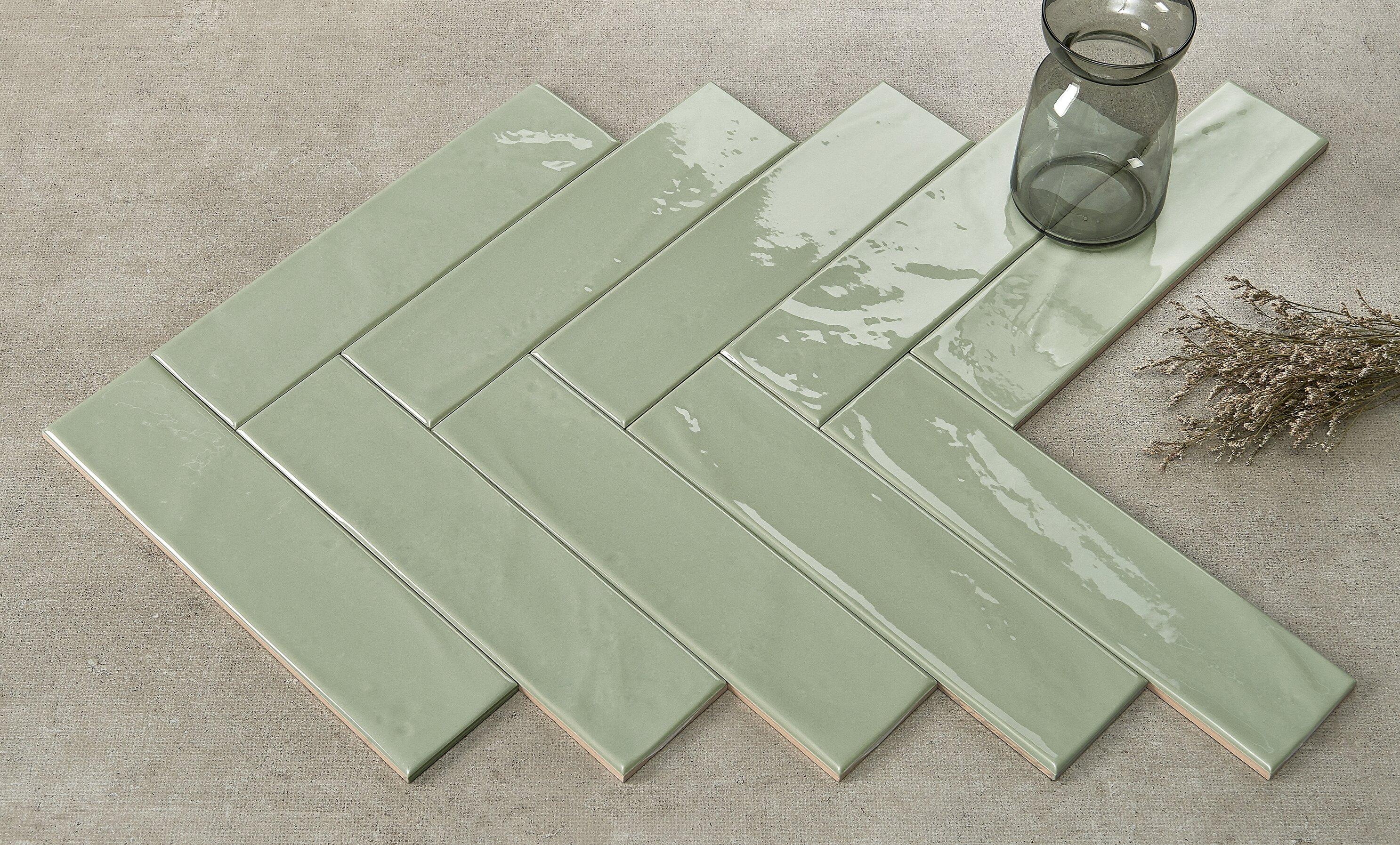 Walkon Tile Mason 3 X 12 Ceramic Subway Tile In Sage Green Glossy
