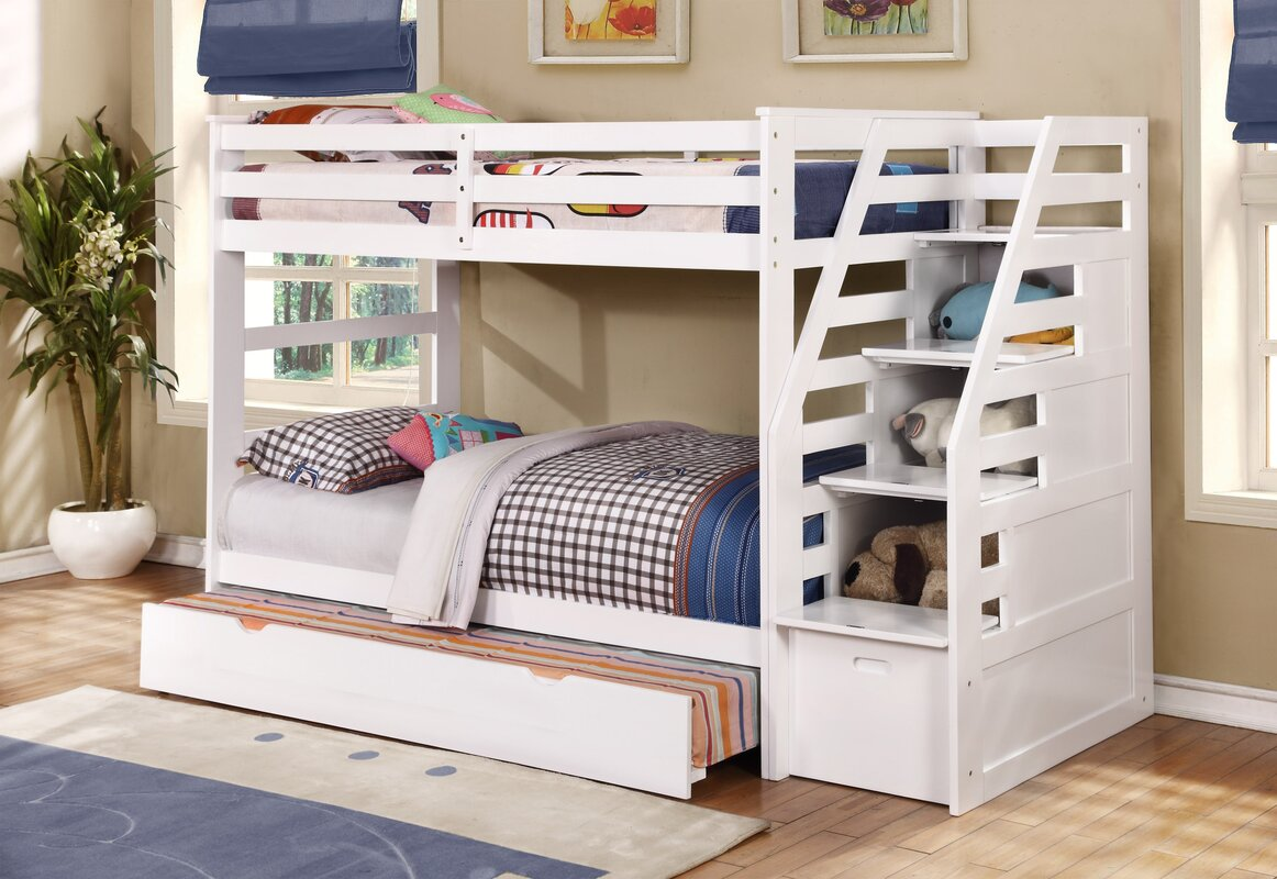 Wildon Home R Cosmo Twin Bunk Bed With Trundle And Storage