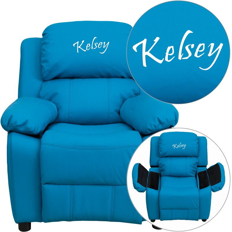 Deluxe Contemporary Personalized Kids Recliner with Storage Compartment  sc 1 st  Wayfair & Flash Furniture Deluxe Contemporary Personalized Kids Recliner ... islam-shia.org