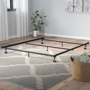 Laverne Heavy Duty 7 Leg Adjustable Metal Bed Frame With Center Support And Rug Roller