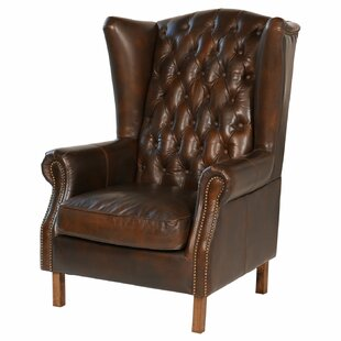Delicieux Old World Antique Leather Wingback Chair