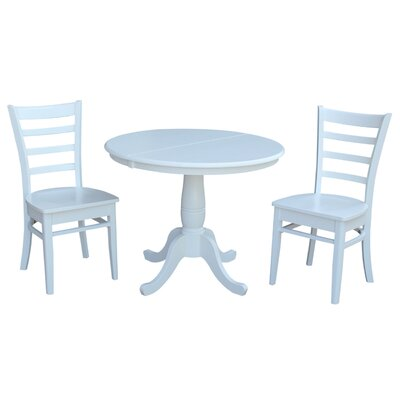 Petra Traditional Extendable Pedestal 3 Piece Solid Wood Bistro Set August Grove Color: White