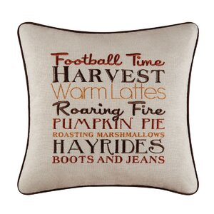 Herb Harvest Football Time Embroidered Throw Pillow