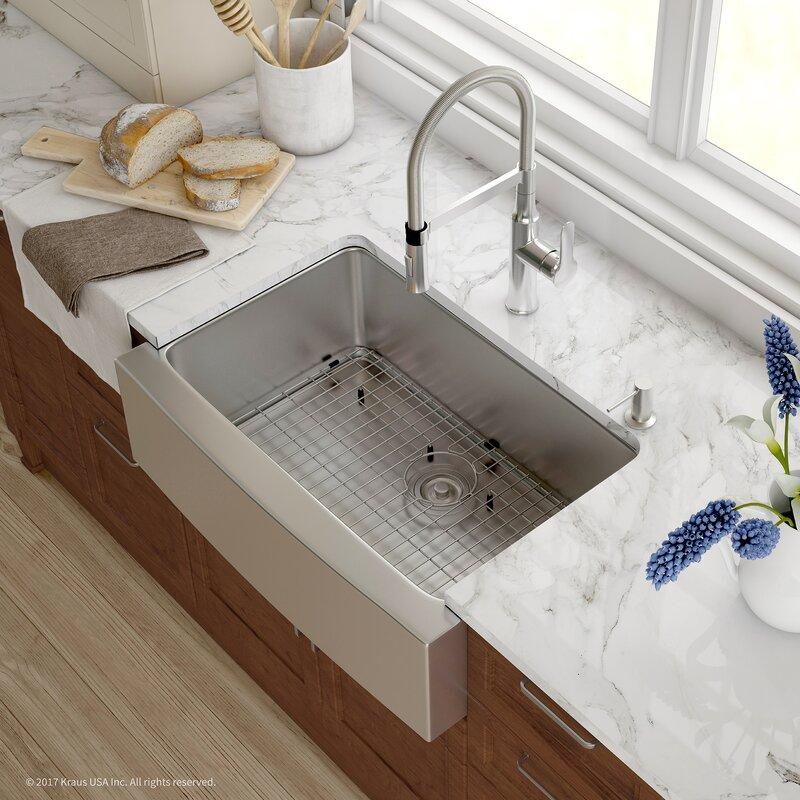 Handmade Series 29.75u201d X 20.75u201d Farmhouse Kitchen Sink With Faucet And Soap  Dispenser
