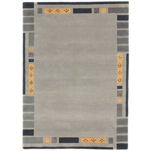Kerstetter Hand-Knotted Wool Grey Rug by Charlton Home