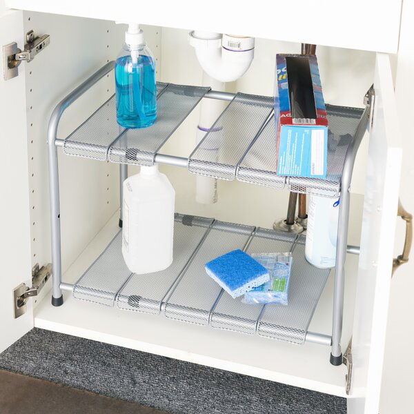 2 Tier Expandable Under Sink Kitchen Shelving Rack by Home Basics