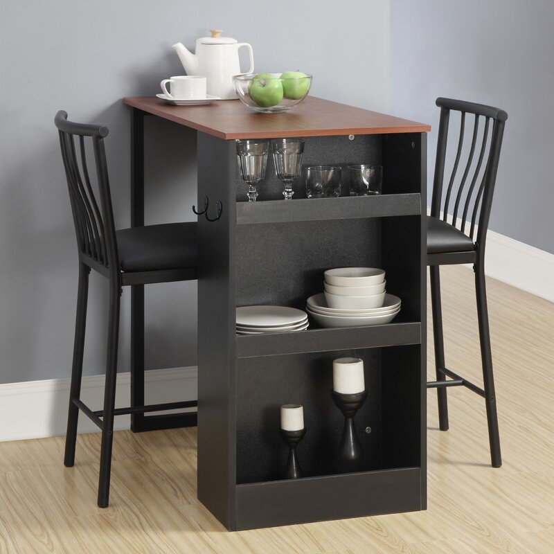 Counter Table Set Part - 26: Francis 3 Piece Counter Height Pub Table Set