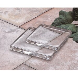 Square Glass Candle Plate (Set of 2)