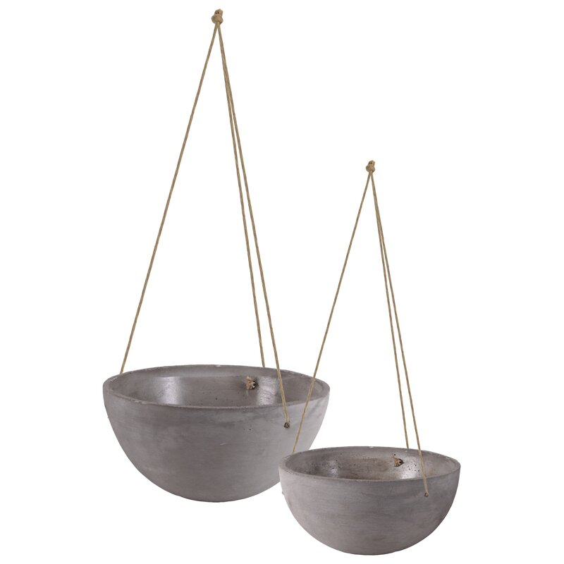 Mayville Round Rope Hanger 4 Piece Cement Pot Planter Set