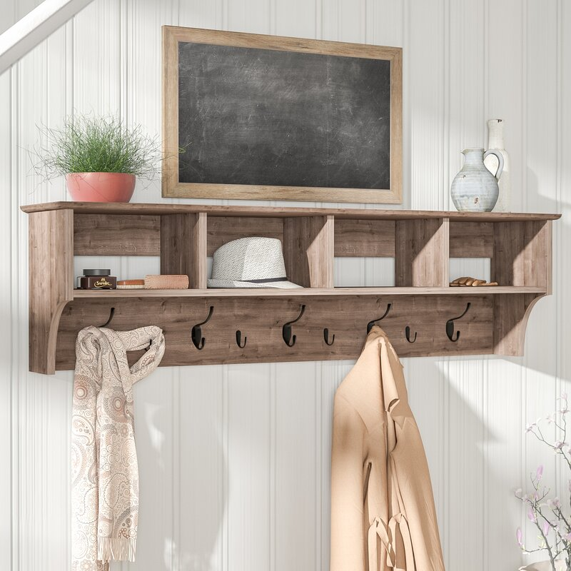 laurel foundry modern farmhouse manzanola 60 drifted gray wall rh wayfair com coat racks with shelving coat racks with shelves and mirror
