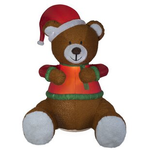 6ece5a93c2c Mixed Media Hugging Teddy Bear with Santa Hat Christmas Figurine