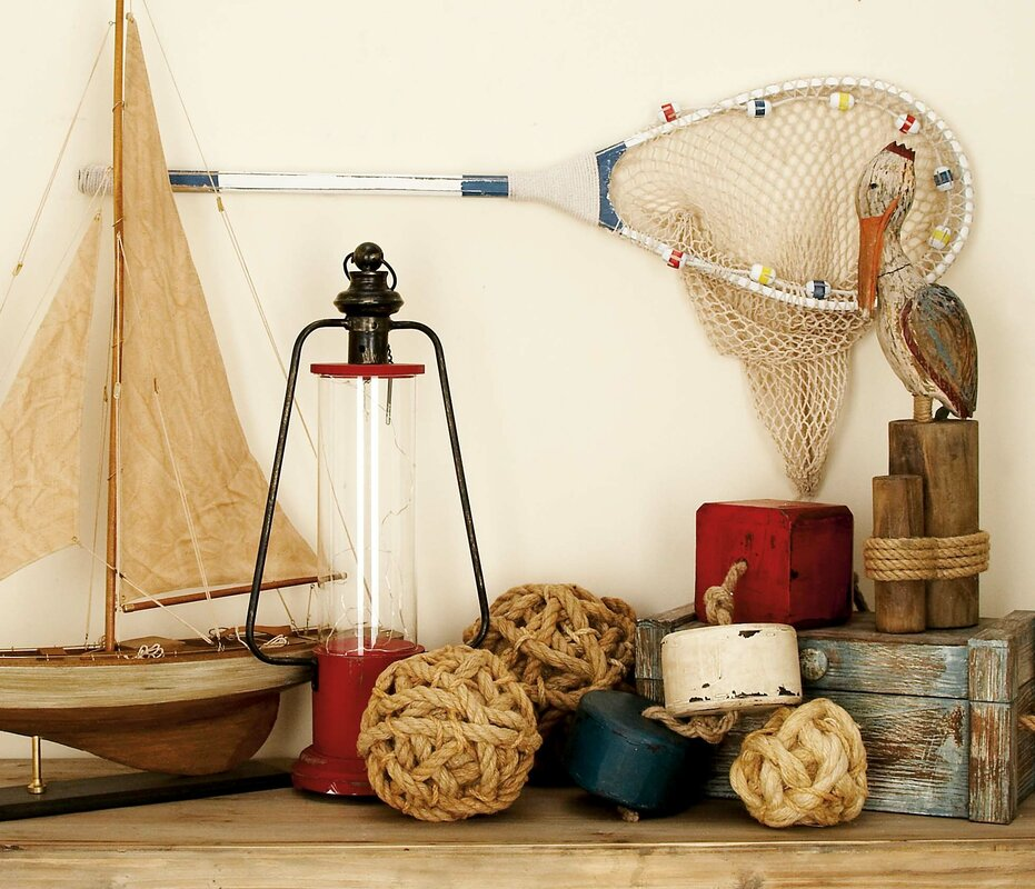 Cole grey decorative wood fishing net reviews for Decor containers coles