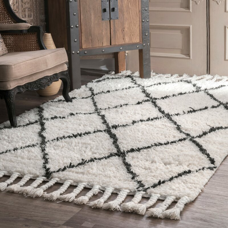 Twinar Hand Knotted Wool Off White Dark Gray Area Rug