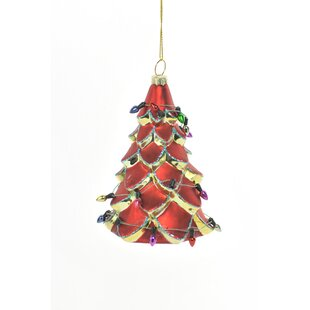 glass red christmas tree with christmas lights ornament set of 4