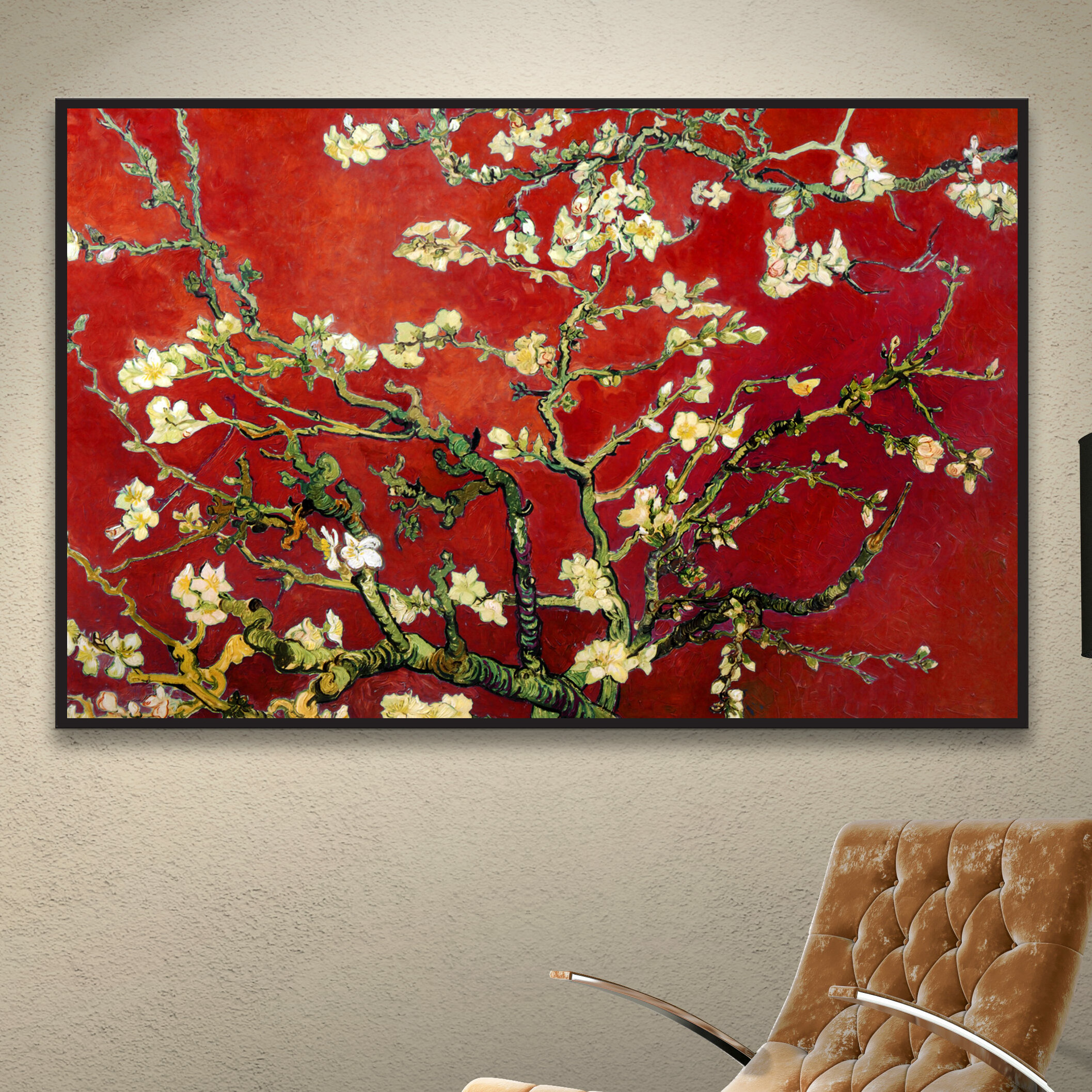 World Menagerie Interpretation In Red Almond Blossom By