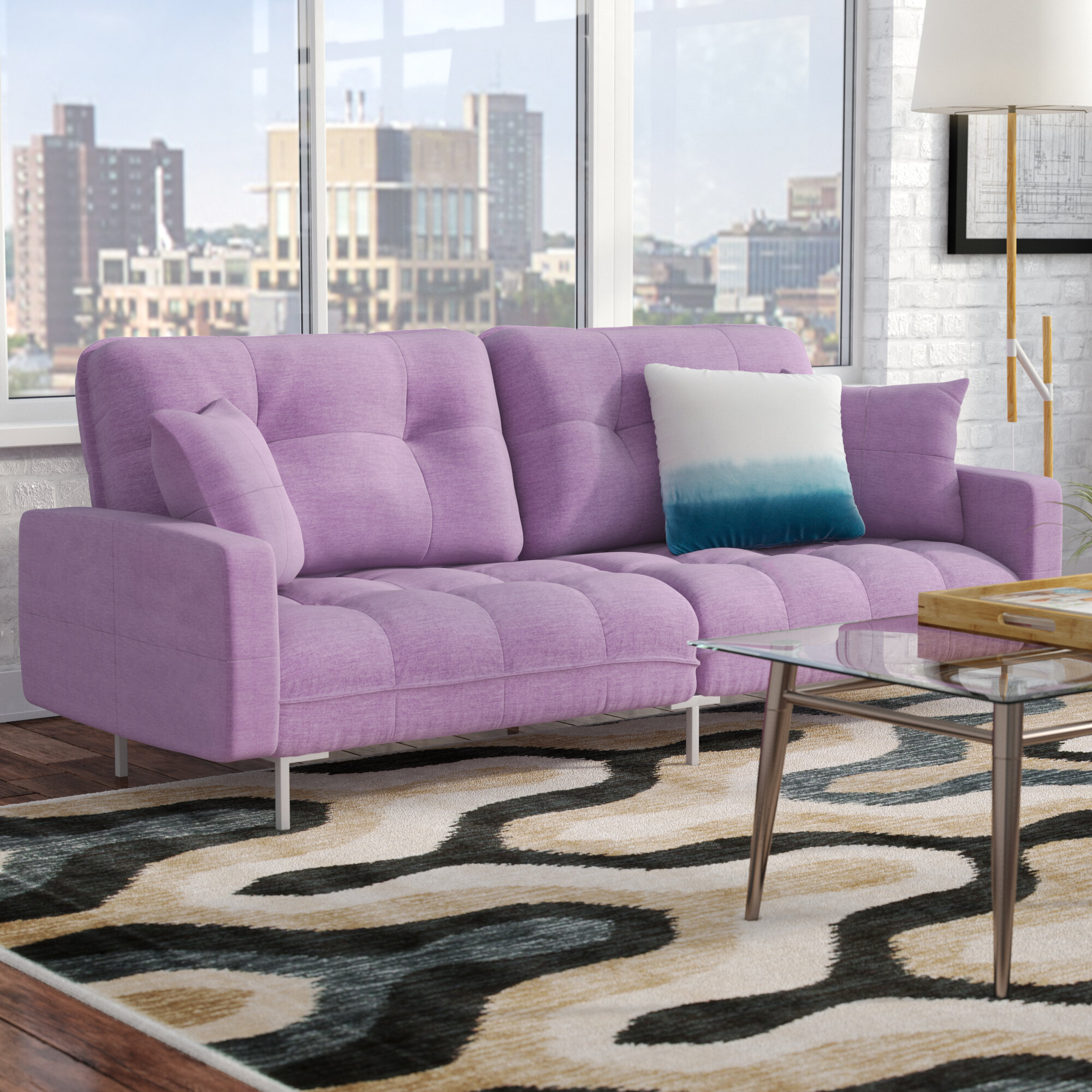 Zipcode Design Frederick Modern Plush Tufted Convertible Sofa