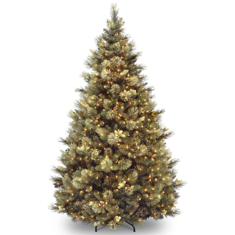 green faux pine artificial christmas tree with white lights - Faux Christmas Trees