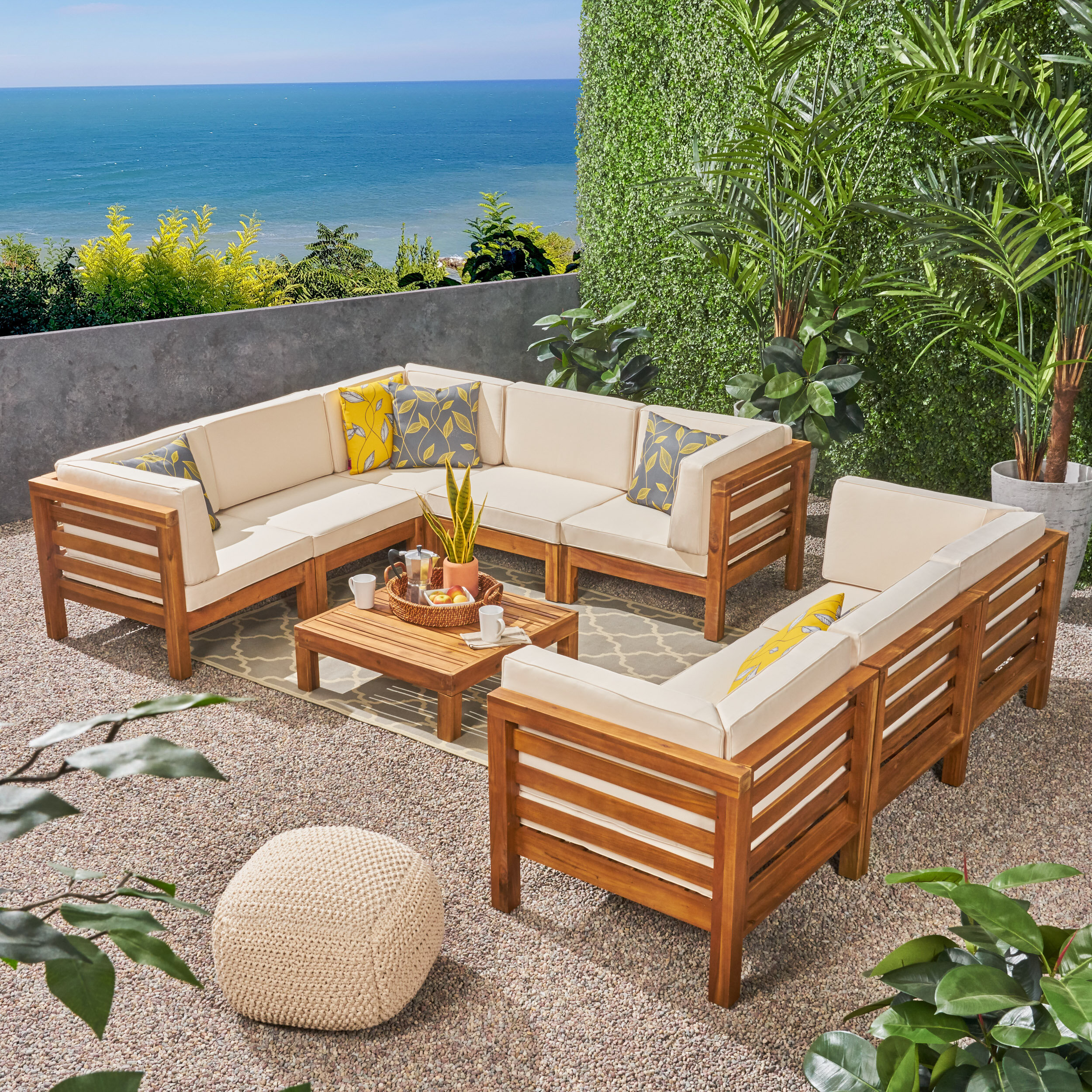 9 Piece Teak Sectional Seating Group