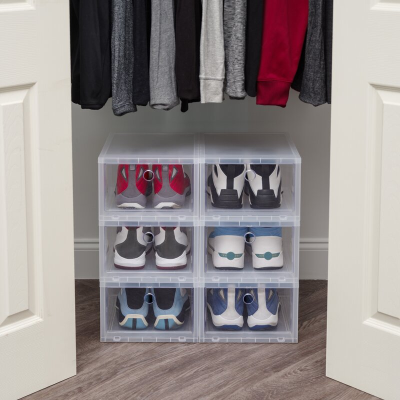 Wide 6 Pack Stackable Shoe Storage Box