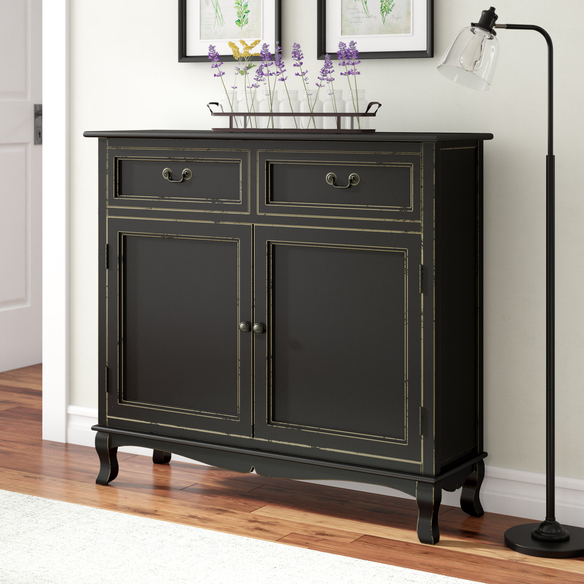 Gracie Oaks Hargrave Wood 2 Drawer 2 Door Accent Cabinet Reviews