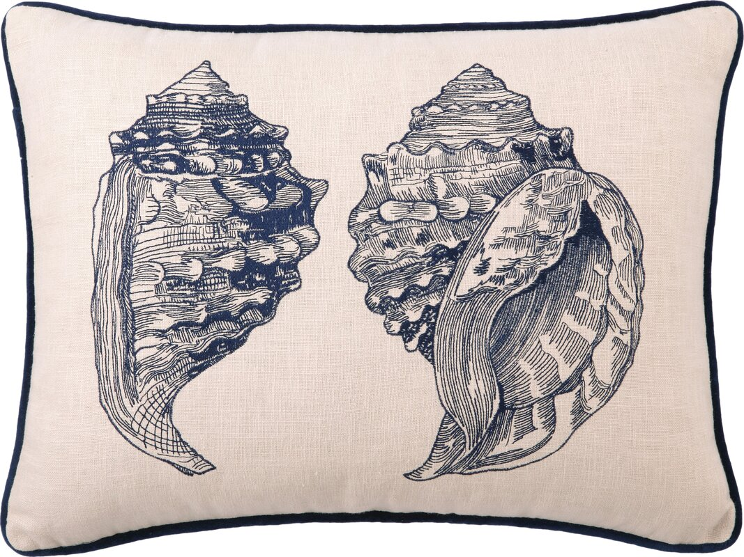 Conch Embroidered Linen Pillow Cover