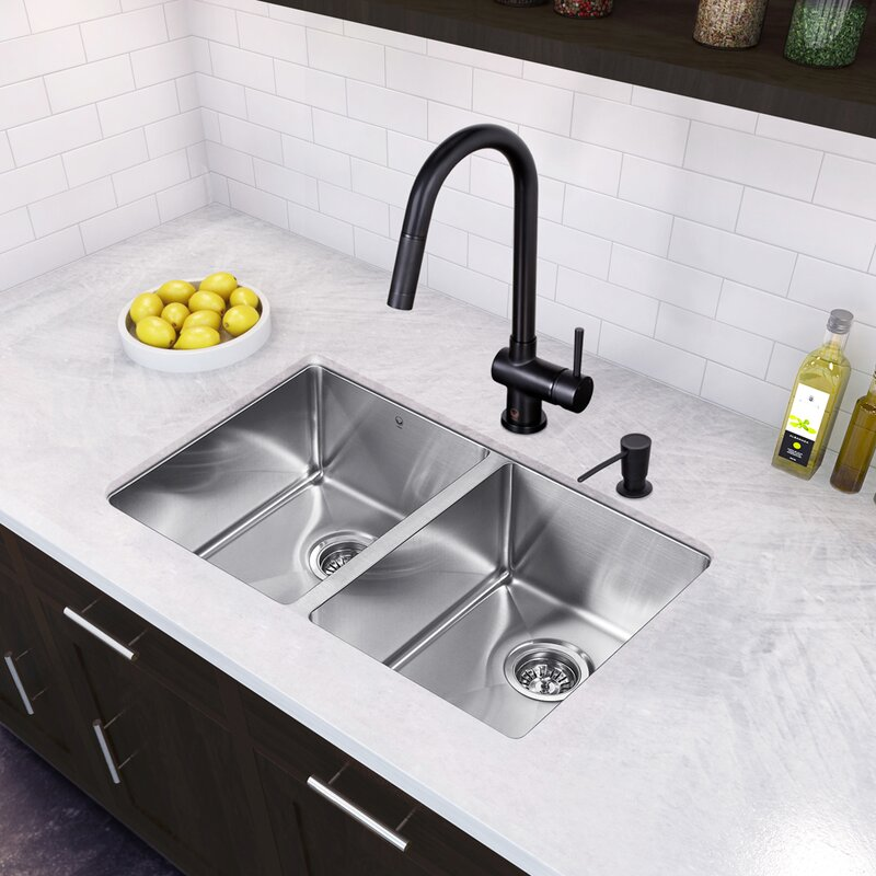 Medium image of 29 inch undermount 50 50 double bowl 16 gauge stainless steel kitchen sink with gramercy