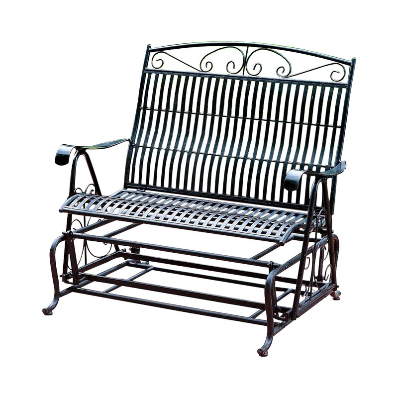 Genial Snowberry Iron Double Patio Glider Bench