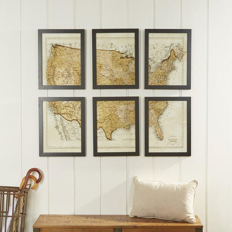 Birch Lane Vintage Usa Map Wall Art Wayfair