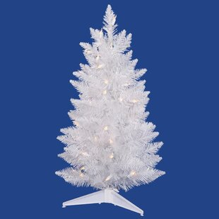 sparkle 25 white spruce artificial christmas tree with 50 led white lights with stand - Mini White Christmas Tree