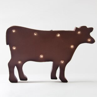 Lighted wall accents youll love rusty marquee led lighted cow sign wall dcor aloadofball Images
