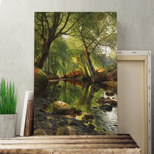 'A Woodland Stream' by Peder Mork Monsted Painting Print on Canvas