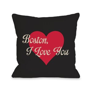 Boston I Love You Heart Throw Pillow