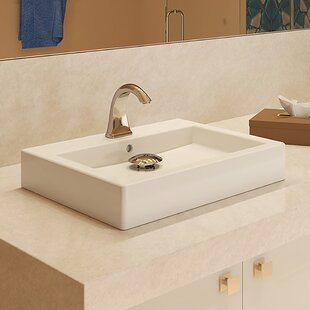 Classically Redefined Tallia Ceramic Rectangular Vessel Bathroom Sink with  Overflow